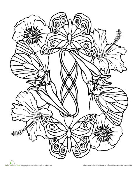 Second Grade Coloring Worksheets: Butterfly Mandala