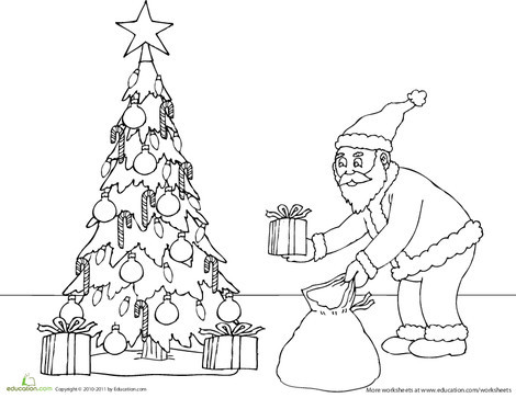 First Grade Holidays Worksheets: Santa Putting Presents Under the Tree Coloring Page