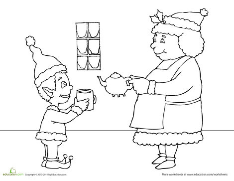 First Grade Holidays Worksheets: Mrs. Claus Coloring Page