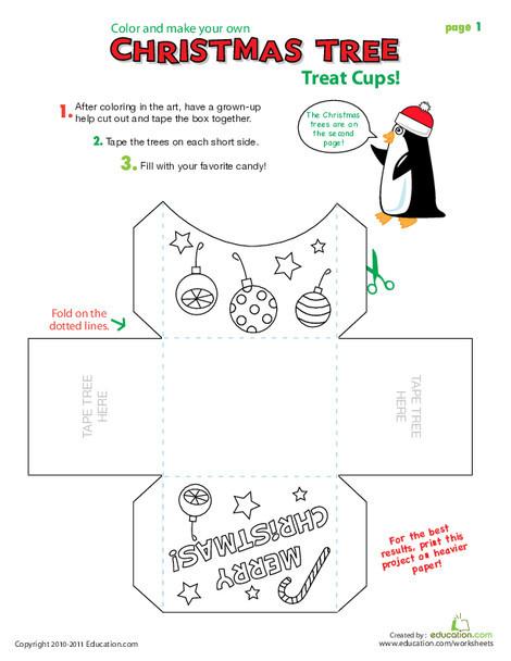 Kindergarten Arts & crafts Worksheets: Christmas Crafts: Treat Cups