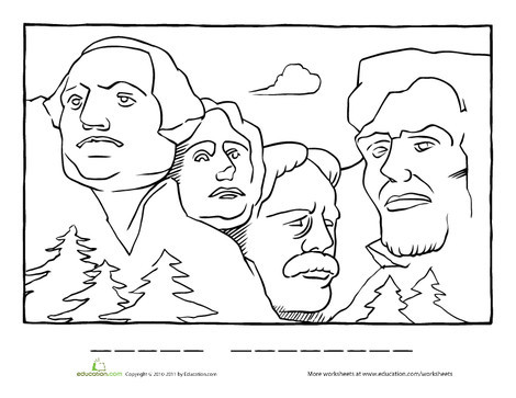 First Grade Social studies Worksheets: Mount Rushmore Coloring Page