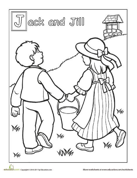 Preschool Coloring Worksheets: Jack and Jill Went Up the Hill Coloring Page