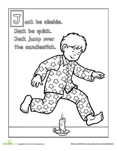 Preschool Reading & Writing Worksheets: Jack Be Nimble Coloring Page