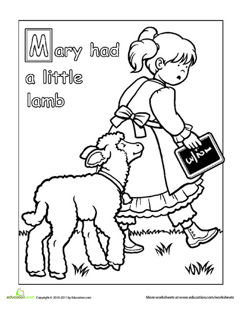 Preschool Reading & Writing Worksheets: Mary Had a Little Lamb Coloring Page