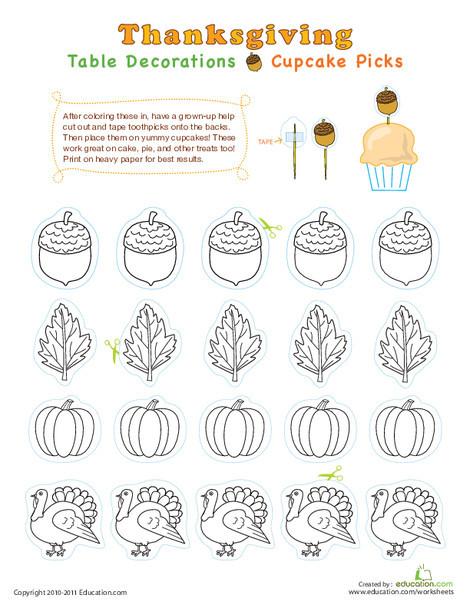 Second Grade Holidays Worksheets: Fall Cupcake Picks