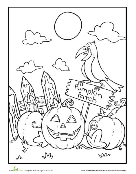First Grade Holidays Worksheets: Spooky Pumpkins Coloring Page
