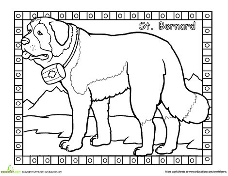 First Grade Coloring Worksheets: St. Bernard Coloring Page