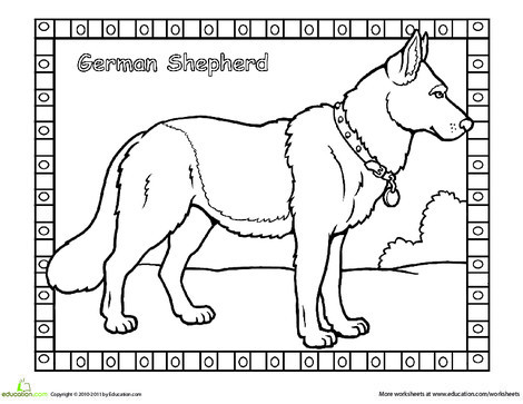 First Grade Coloring Worksheets: German Shepherd Coloring Page