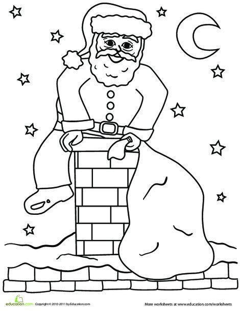 Preschool Holidays Worksheets: Santa Coming Down the Chimney Coloring Page