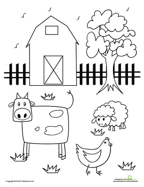 Preschool Coloring Worksheets: Barn Coloring Page