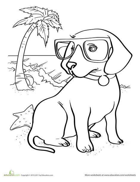 Kindergarten Coloring Worksheets: Puppy Coloring Page