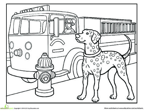 First Grade Coloring Worksheets: Dalmatian Coloring Page