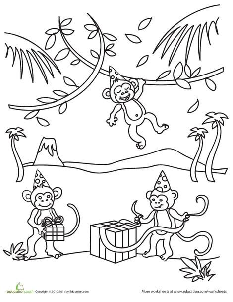 Kindergarten Coloring Worksheets: Birthday Monkey Coloring Page