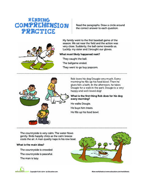 First Grade Reading & Writing Worksheets: Reading Comprehension Practice Test