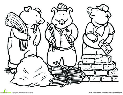 First Grade Coloring Worksheets: Color the Three Little Pigs