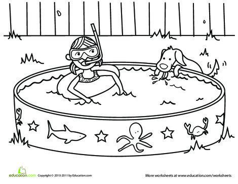 Kindergarten Seasons Worksheets: Summer Coloring Page