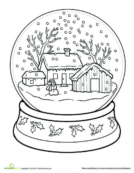 First Grade Seasons Worksheets: Snow Globe Coloring Page