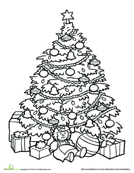 Second Grade Holidays Worksheets: Christmas Tree Coloring Page