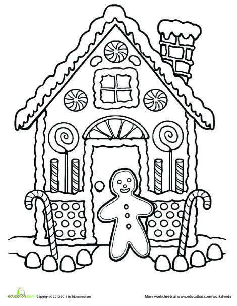First Grade Holidays Worksheets: Gingerbread House Coloring