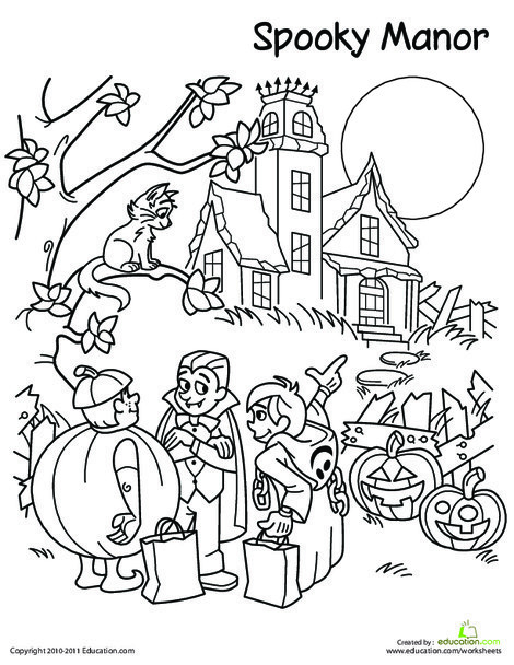 Second Grade Holidays Worksheets: Trick-Or-Treat Coloring Page