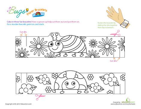 Kindergarten Coloring Worksheets: Make Fun Bug Bracelets