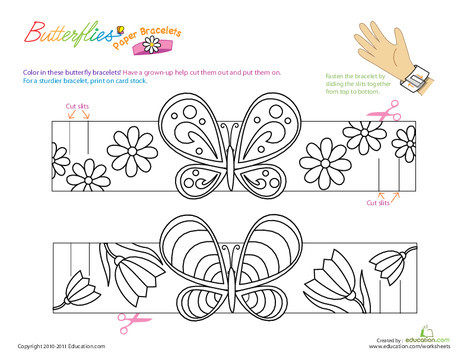 Kindergarten Coloring Worksheets: Make Butterfly Bracelets
