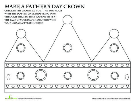 First Grade Holidays Worksheets: Father's Day Crown