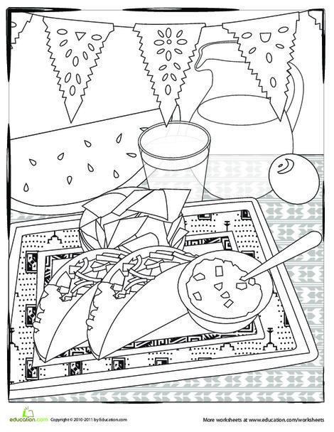 Second Grade Holidays Worksheets: Color a Cinco de Mayo Fiesta