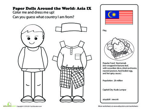First Grade Social studies Worksheets: Paper Dolls Around the World: Malaysia