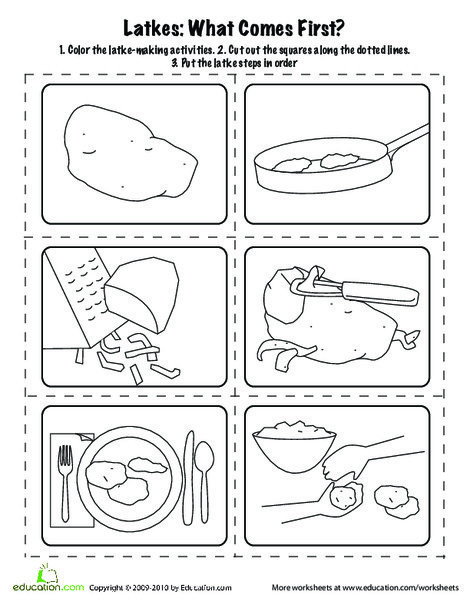 First Grade Holidays Worksheets: Latkes: What Comes First?