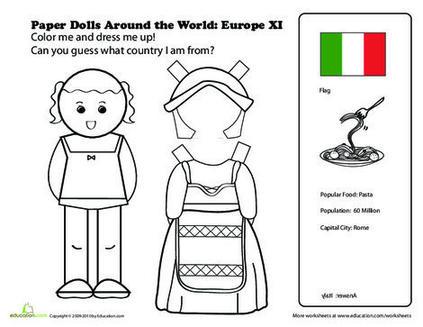 First Grade Social studies Worksheets: Italian Paper Doll