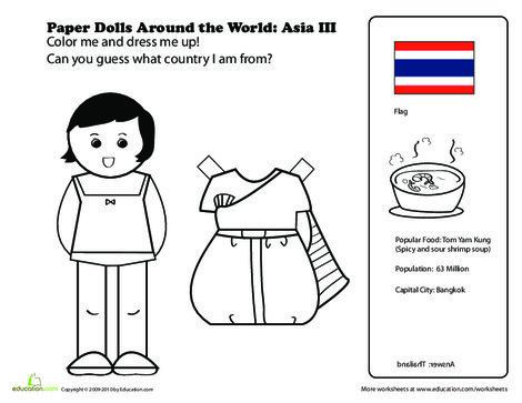 First Grade Social studies Worksheets: Paper Dolls Around the World: Thailand