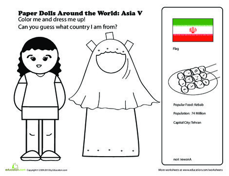 First Grade Social studies Worksheets: Paper Dolls Around the World: Asia V