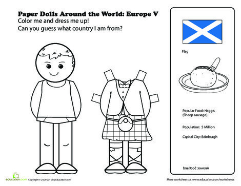 First Grade Social studies Worksheets: Scottish Paper Doll