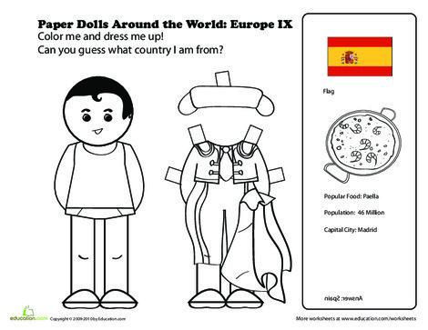 First Grade Social studies Worksheets: Paper Dolls Around the World: Europe IX