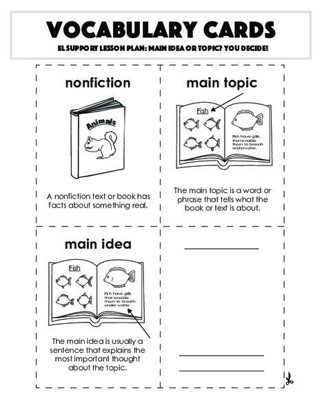 Second Grade Reading & Writing Worksheets: Vocabulary Cards: Main Idea or Topic? You Decide!