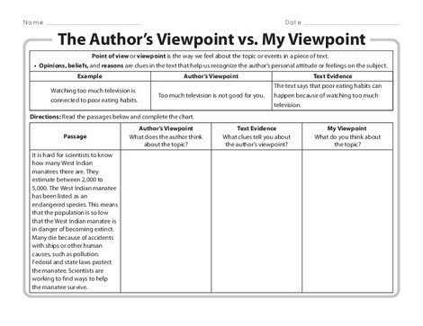 Third Grade Reading & Writing Worksheets: The Author's Viewpoint vs. My Viewpoint