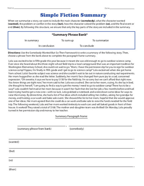 Fourth Grade Reading & Writing Worksheets: Simple Fiction Summary