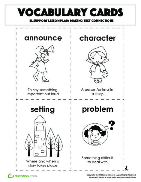 Fourth Grade Reading & Writing Worksheets: Vocabulary Cards: Making Text Connections