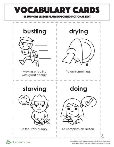 Second Grade Reading & Writing Worksheets: Vocabulary Cards: Exploring Fictional Text
