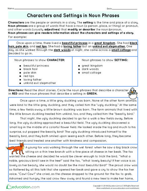 Fourth Grade Reading & Writing Worksheets: Characters and Settings in Noun Phrases