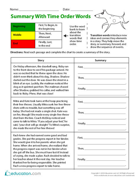 Third Grade Reading & Writing Worksheets: Summary with Time Order Words