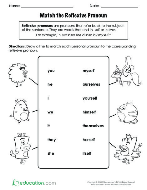 Second Grade Reading & Writing Worksheets: Match the Reflexive Pronoun