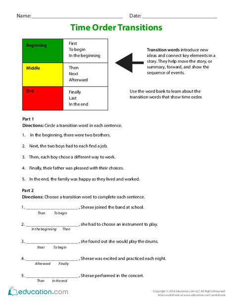 Third Grade Reading & Writing Worksheets: Time Order Transitions