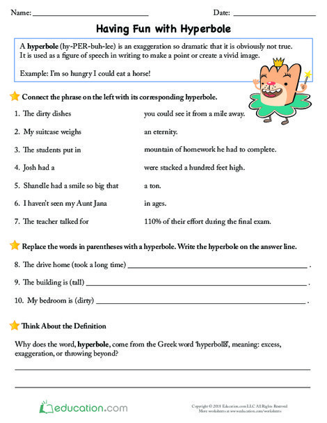 Fourth Grade Reading & Writing Worksheets: Having Fun with Hyperbole