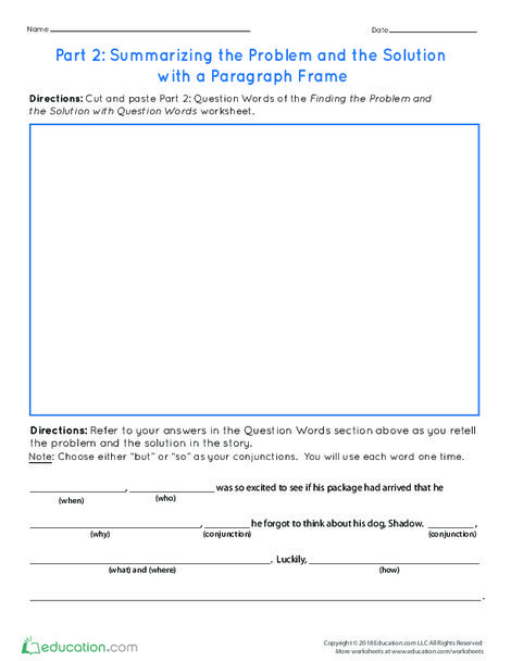 Third Grade Reading & Writing Worksheets: Part 2: Summarizing the Problem and the Solution with a Paragraph Frame
