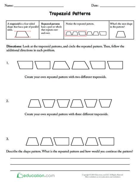Fourth Grade Math Worksheets: Trapezoid Patterns