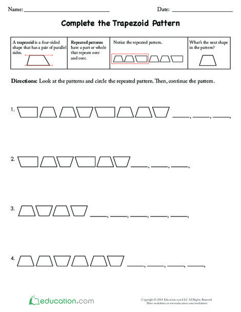 Fourth Grade Math Worksheets: Complete the Trapezoid Pattern