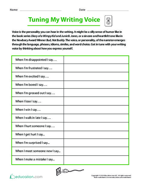 Fifth Grade Reading & Writing Worksheets: Tuning My Writing Voice