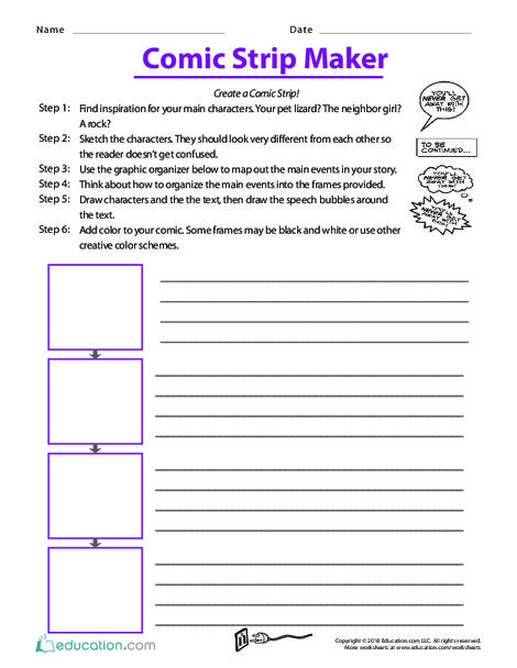 Fifth Grade Reading & Writing Worksheets: Comic Strip Maker